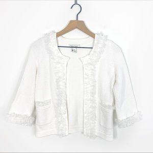 White House Black Market White Knit Trim Cardigan